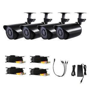 4PCS 1300TVL Outdoor IR-CUT HD Night Vision CCTV Security Camera + 4pcs Cables