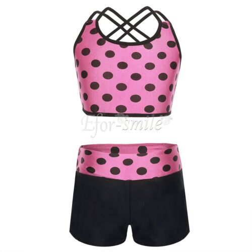 Girl Summer Two Piece Boyshort Tankini Swimsuit Kids Ballet Dance Leotard Outfit