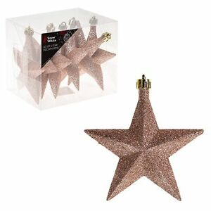 Snow White Shatterproof Christmas Tree Decoration 6 Glitter Star 100mm Rose Gold Ebay