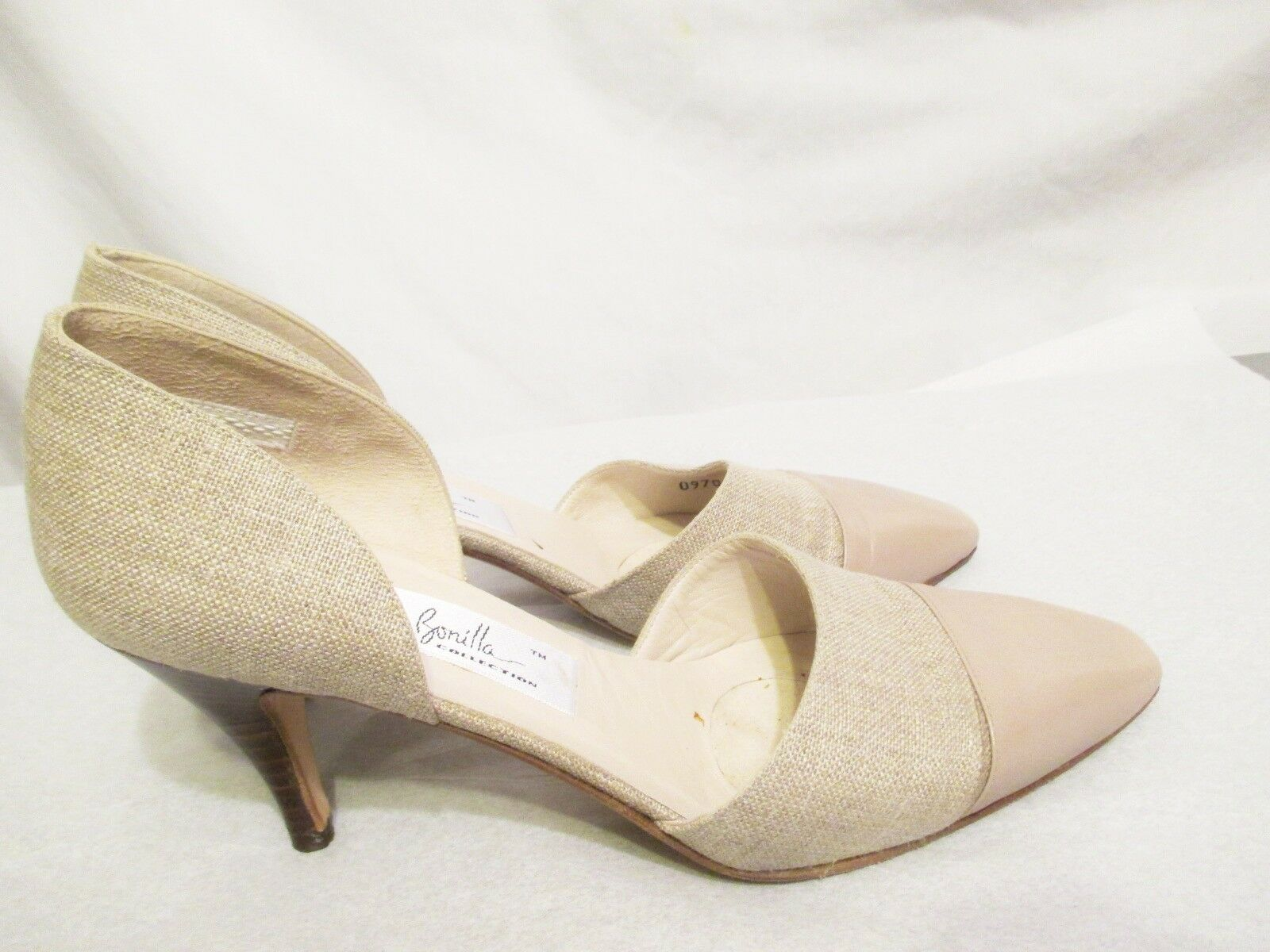 ANA BONILLA Collection Womens Pumps Heels shoes 6 1 2 M Leather Linen Made Spain