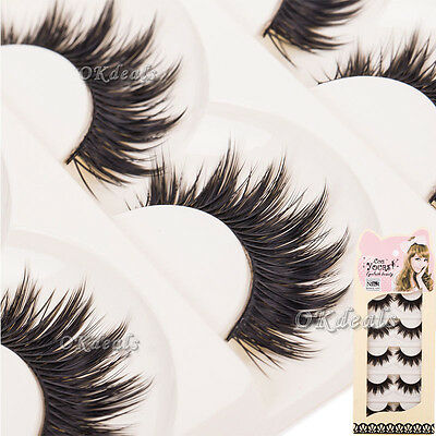 5 Pairs Soft Makeup Thick False Eyelashes Eye Lashes Long Black Nautral Handmade