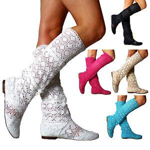 Nuevo-zapatos-senora-rodilla-alta-verano-botas-botines-plana-sandalias-agujero-patron
