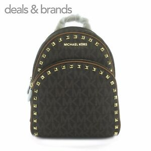 d14c5d0128c7 NWT MICHAEL KORS Abbey Medium Frame Out Studded Backpack in BROWN ...