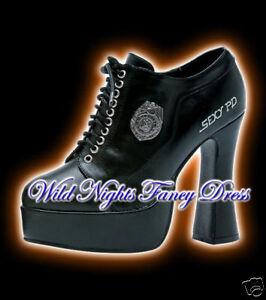 FANCY-DRESS-POLICE-COP-BLACK-PLATFORM-SHOES-SIZE-5