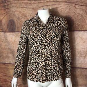 Jones-New-York-Womens-Button-Up-Shirt-Brown-Leopard-Long-Sleeve-Sport-Petite-S