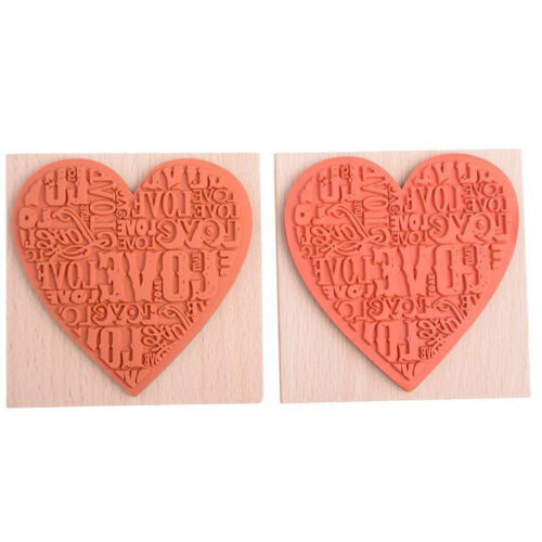 1X Wooden Rubber Love Heart Stamp For Diary Scrapbooking Card Making DIY Craft F
