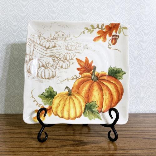 "Pumpkin Farmhouse Fall Serving Dish Salad Plate 8.5/"" Ceramic Square Thanksgiving"