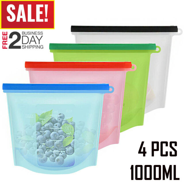 Reusable Food Storage Silicone Bags Leak-Proof Fresh Zip lock Produce Bags 5 PCS