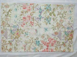1 Vintage Asian Pagoda Butterfly Bird Floral Pillow Case Queen Pastel 33 x 21
