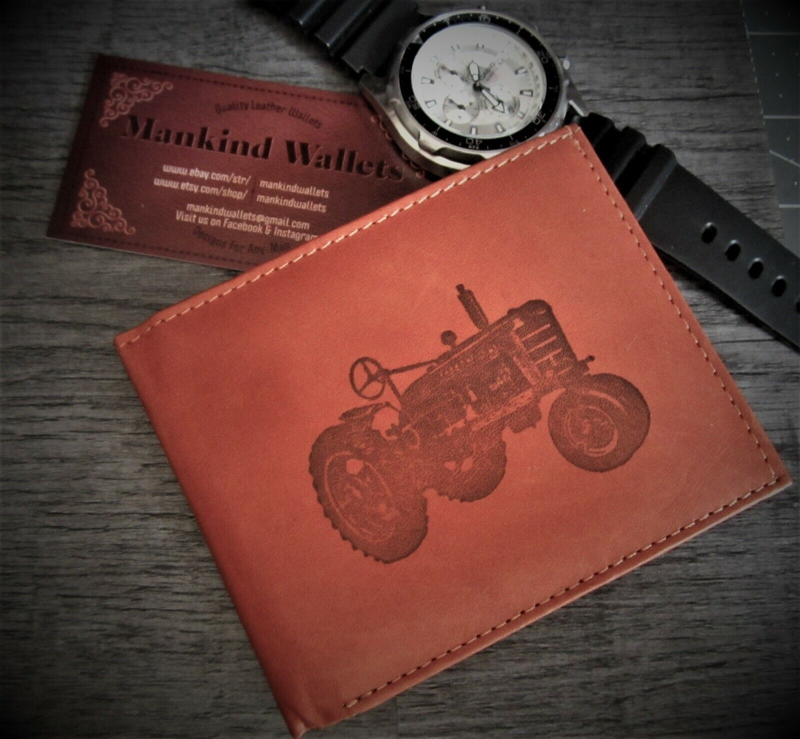 Mens Custom Bifold Leather Wallet-IH FARMALL TRACTOR Farming Image *Great Gift