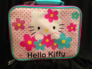 Hello Kitty Insulated Padded Lunch Box Bag Pink Flowers School ... a8e58eced2656