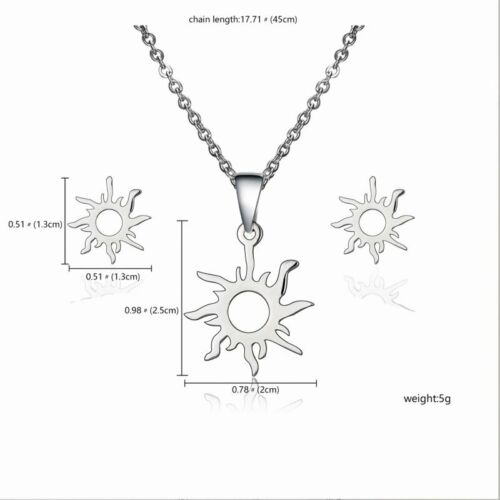 Charm Stainless Steel Women Pendant Necklace Earrings Wedding Party Jewelry Set