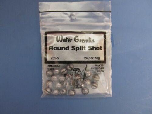Water Gremlin Rond Split Shot #735-5 3 sacs de 24 par Sac 72 total PC NEUF