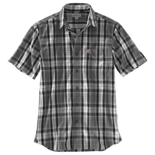 Carhartt Men/'s Essential Plaid Button Down S//S Shirt GREY 103004-039 SIZES S M