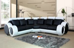 Image Is Loading NOVA BLACK AND WHITE BONDED LEATHER CORNER SOFA