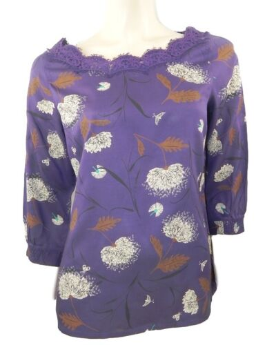 White Stuff Purple Print Top with Lace Trimmed Neckline /& 3//4 length Sleeves