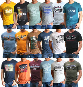 Jack-amp-Jones-Herren-T-Shirt-Regular-und-Slim-Fit-Rundhals-Print-kurz-Versandfrei