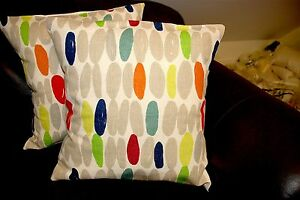 Designer Cushion Covers made with Laura Ashley Wallace Multi Grey Red Pillows