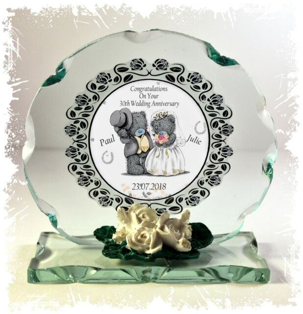 30th Pearl Wedding Anniversary Gift Personalised Crystal Cut Glass