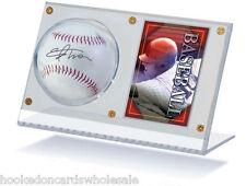 4 Acrylic Ball Baseball & and Card Holders Display Case - Ultra Pro Brand