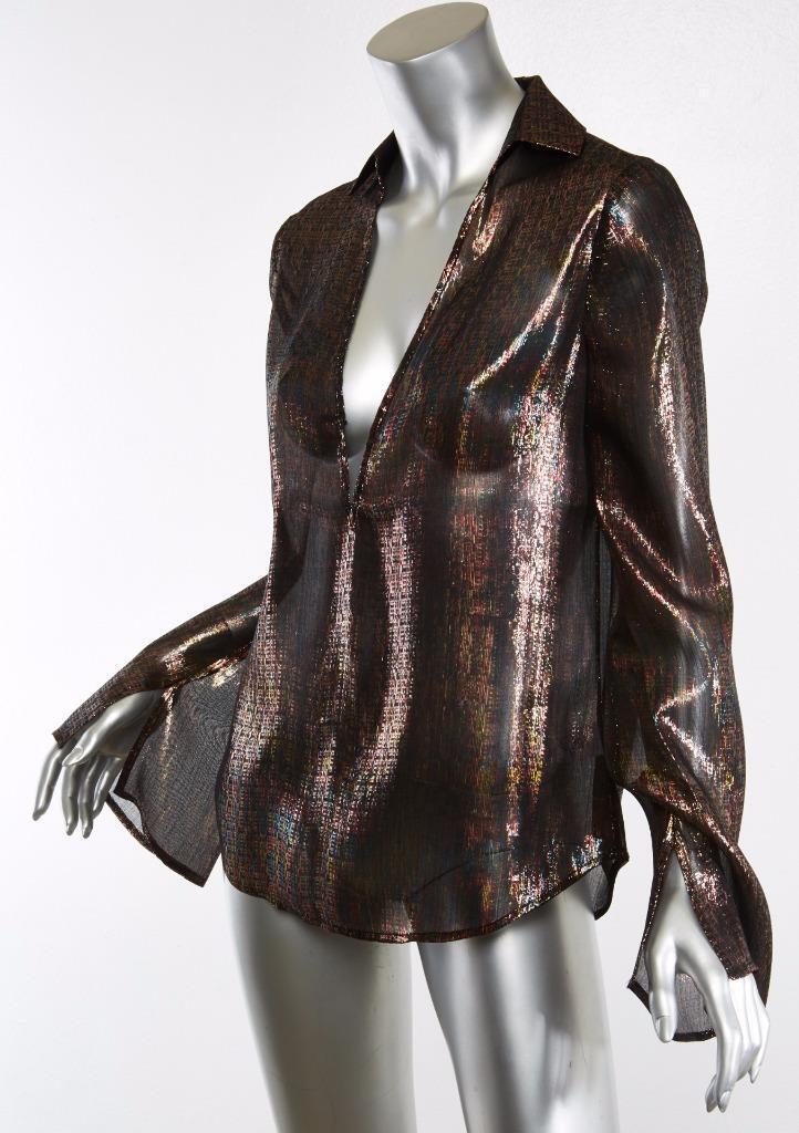 Rosie HW x PAIGE Bessy Metallic Georgette Silk Deep-V Bell Sleeve Blouse S NEW