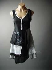 Victorian Gothic Lolita Wicca Doll Patchwork Black White Chemise 76 ac Dress M