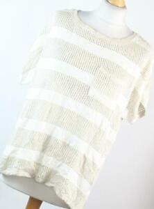 George-Beige-Striped-Cotton-Blend-Womens-Basic-Tee-Size-14-Regular