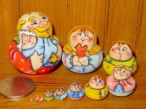 Nesting-Russian-Dolls-Matryoshka-Tiny-family-10-Dad-amp-Baby-Latisheva-signed