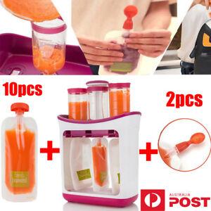 AU New Baby Feeding Food Squeeze Station Toddler Infant Fruit Maker Dispenser UE