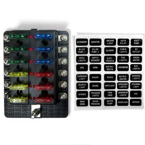 50 Caliber Racing 12 Way Standard LED Circuit Blade Fuse Box Kit Block Warranty