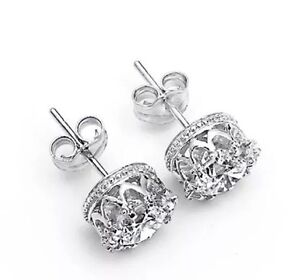 Image Is Loading 925 Sterling Silver 034 Princess Crown Stud