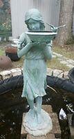 "Cast Bronze Fountain Bird Bath Lady 66"" Tall"