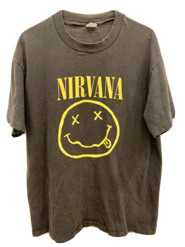 Vintage Vtg Nirvana 1992 Smiley T Shirt Large Sted