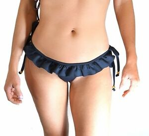 Brazilian Cut Bikini Bottom Neoprene Sexy Frill Tie Thong Swimwear ... 7a55f7694