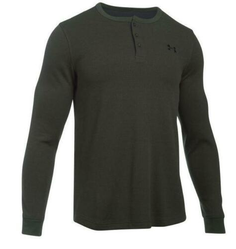 Under Armour 1281316 Men Waffle Henley Long Sleeve Shirt Small Green Army Color