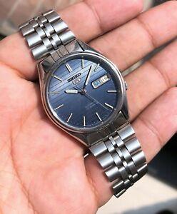 Seiko-1990-LINEN-Blue-Sunburst-Dial-Sports-Vintage-Auto-Mint-RARE-JDM-7009-3171