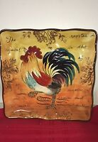 Maxcera Traveling Colorful Rooster Square Porcelain Serving Plate Country