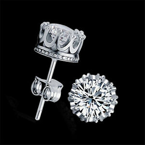 Fashion-Sliver-Plated-Jewelry-8-mm-Round-Cubic-Zirconia-Silver-Stud-Earrings