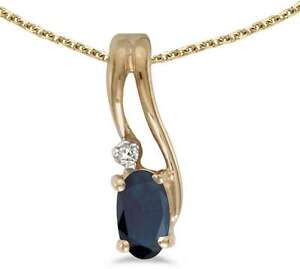 10k-Yellow-Gold-Oval-Sapphire-amp-Diamond-Wave-Pendant-Chain-NOT-included
