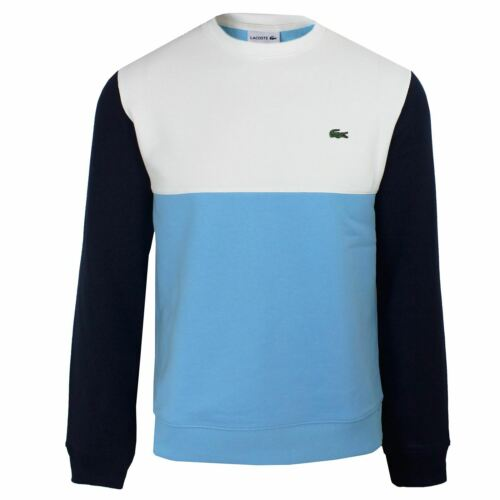 LACOSTE SWEATSHIRT MENS BLUE WHITE AND NAVY CREW NECK TOP