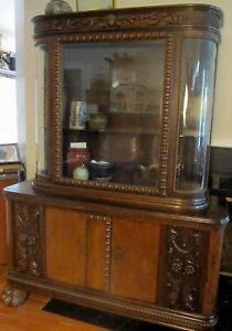 Antique German Carved Credenza Sideboard China Cabinet