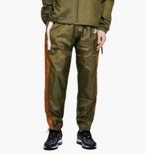 Nike-Men-039-s-Re-Issue-Woven-Pants-NEW-AQ1895-395-Olive-Green-Orange-Size-Large