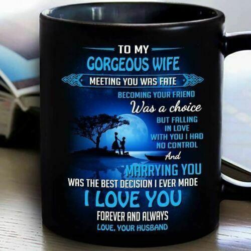 To My Gorgeous Wife I Love You toujours mug Noir Céramique Café