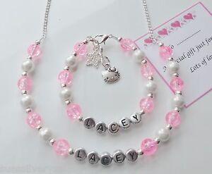 Girls-Birthday-Personalised-Hello-Kitty-bracelet-amp-Necklace-gift
