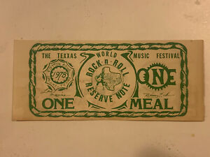 Vintage-ORIGINAL-1978-Texxas-World-Music-Festival-Official-Meal-Ticket-Very-RARE