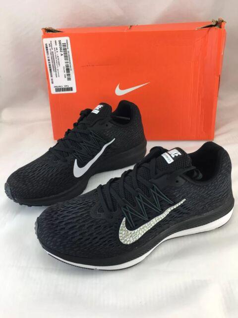 ca5fee7c9b7c9 Nike Zoom Winflo 5 Womens 8.5 Black Swarovski Crystal Swoosh Running Shoes