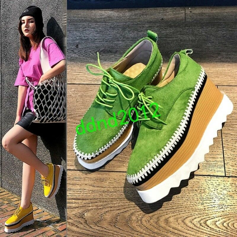 Oxfords femmes Real Leather Punk baskets Creepers Platform Heels Lace Up chaussures
