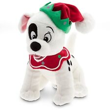 DISNEY STORE 101 DALMATIANS MINI BEAN PLUSH HOLIDAY PATCH IN ELF HAT COLLAR NWT