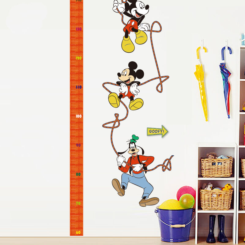 mickey mouse goofy growth height chart removable wall stickers kids