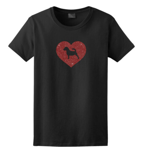 Jack Russell Terrier Glitter Heart T-Shirt Men Women Ladies Female Youth Kids